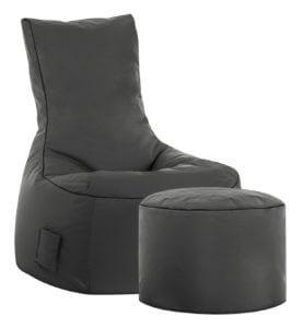 Sitzsack mit Lehne und Hocker